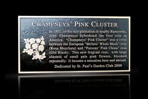 Cast Bronze Garden & Bench Plaque Champney's