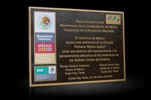 Cast Bronze Portrait Plaques with Metal Photo Mexico Revolution