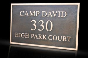 Custom & Personalized Bronze Address Plaque Camp David