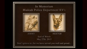 Hialeah Police Department K9's Cast Bronze Portrait Plaque with Metal Photos