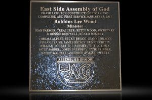 Personalized Cast Bronze Wall Plaque Assembly of God