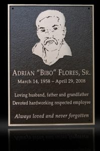 Cast Bronze Portrait Plaques with Metal Photo Flores